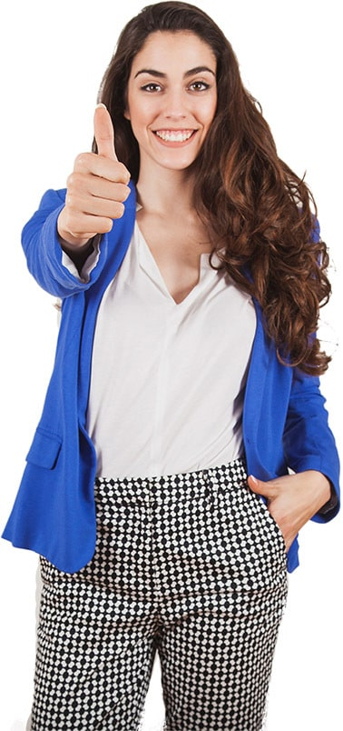 Female professional with thumb up