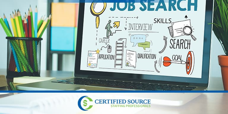 Job search graphic displayed on laptop