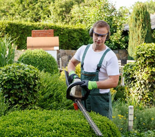 Landscaper working in the garden