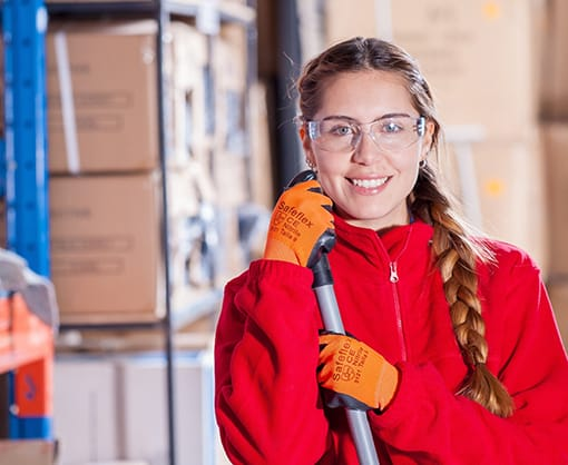 Female laborer on a red uniform