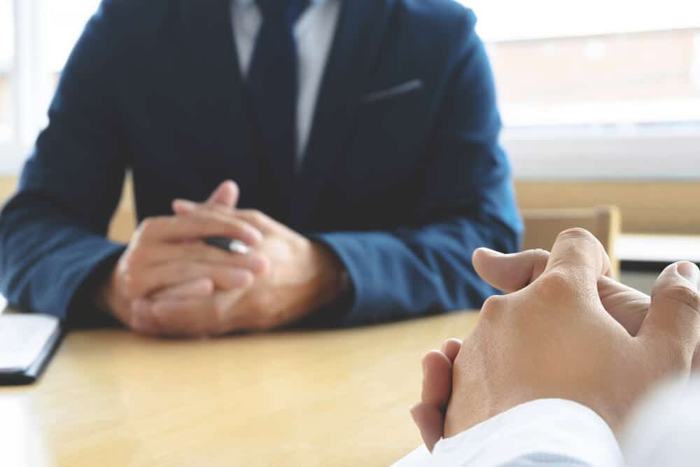 Job interview with human resource manager in office